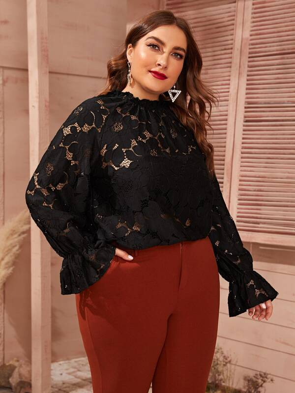 Plus Size Flounce Sleeve Sheer Guipure Lace Blouse Without Cami