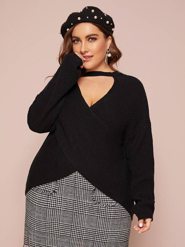 Plus Size Keyhole Neckline Rib-Knit Wrap Sweater