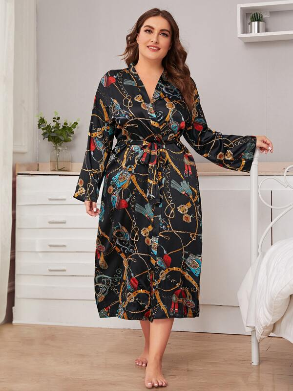 Plus Size Chain Print Belted Satin Robe