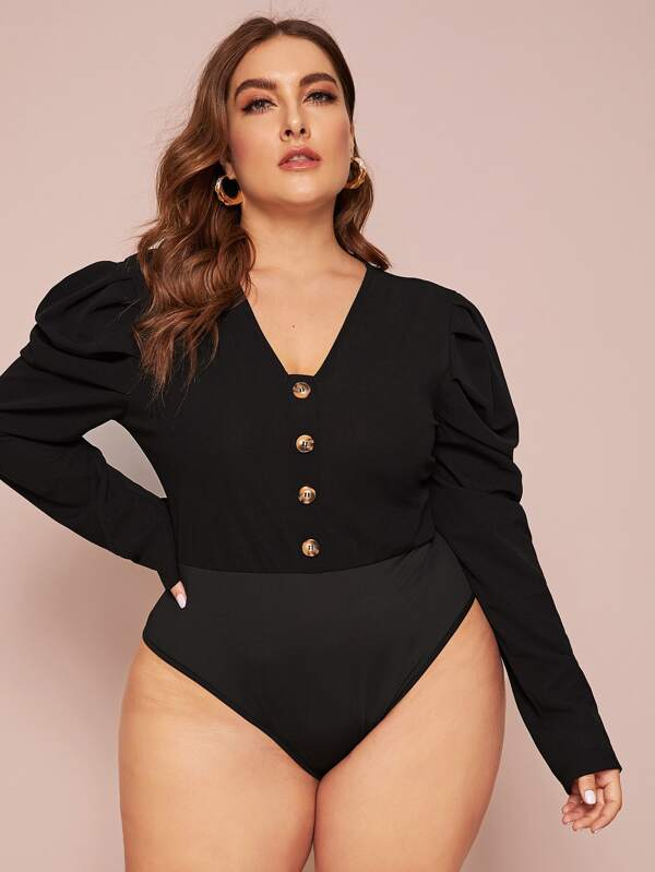 Plus Size Button Front Puff Sleeve Bodysuit