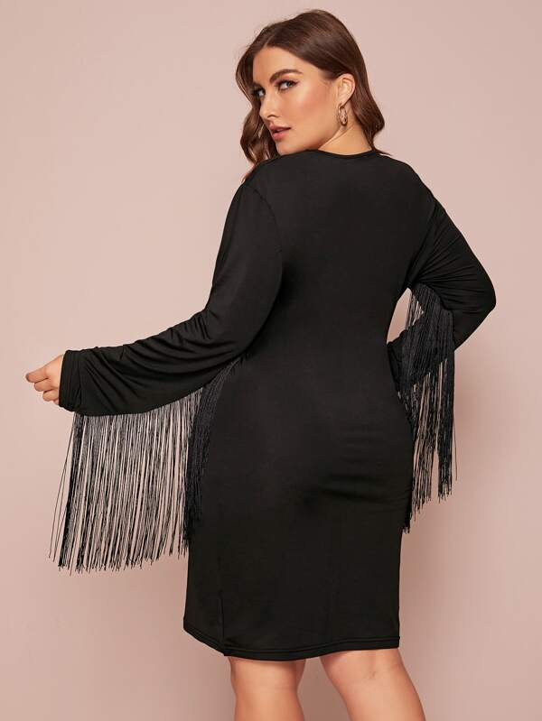 Plus Size Fringe Trim Fitted Dress