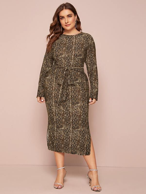 Plus Size Tie Front Snakeskin Print Fitted Dress