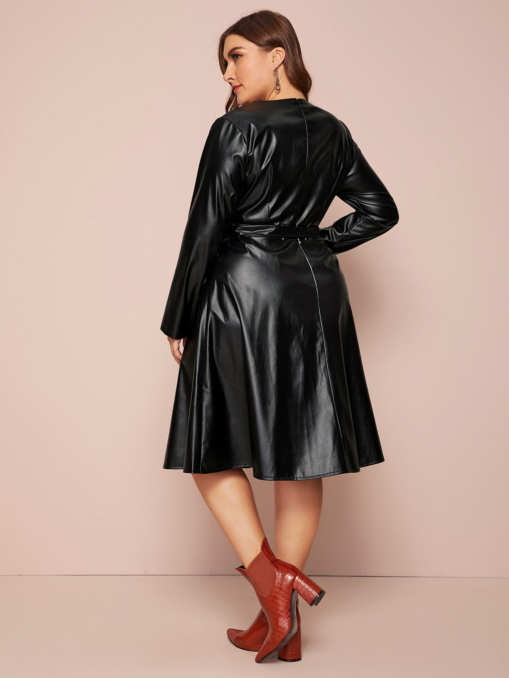 Plus Size Chic Self Tie PU Leather A-line Dress