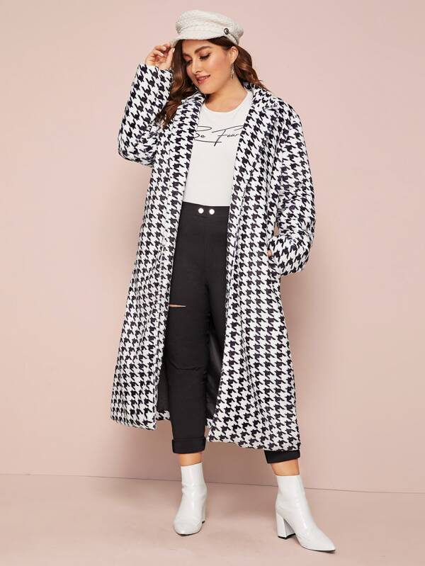 Plus Size Lapel Neck Houndstooth Faux Fur Coat