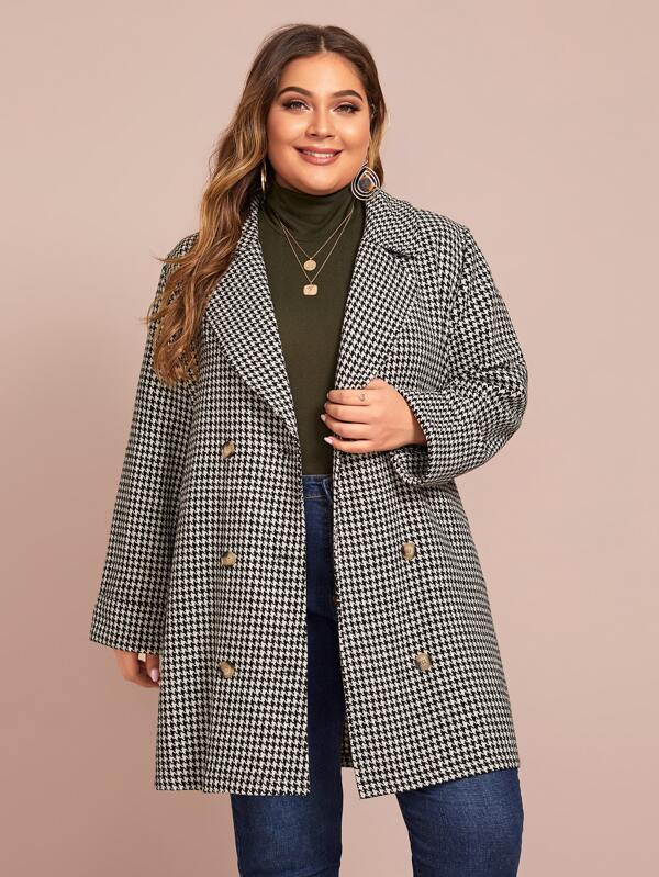 Plus Size Double Breasted Houndstooth Blazer