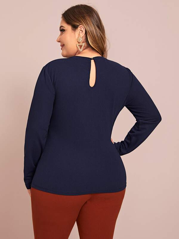 Plus Size Laser Cut Yoke Keyhole Back Top