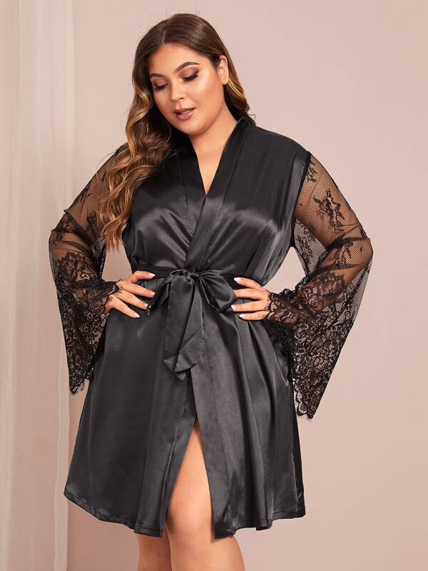 Plus Size Contrast Lace Satin Belted Robe