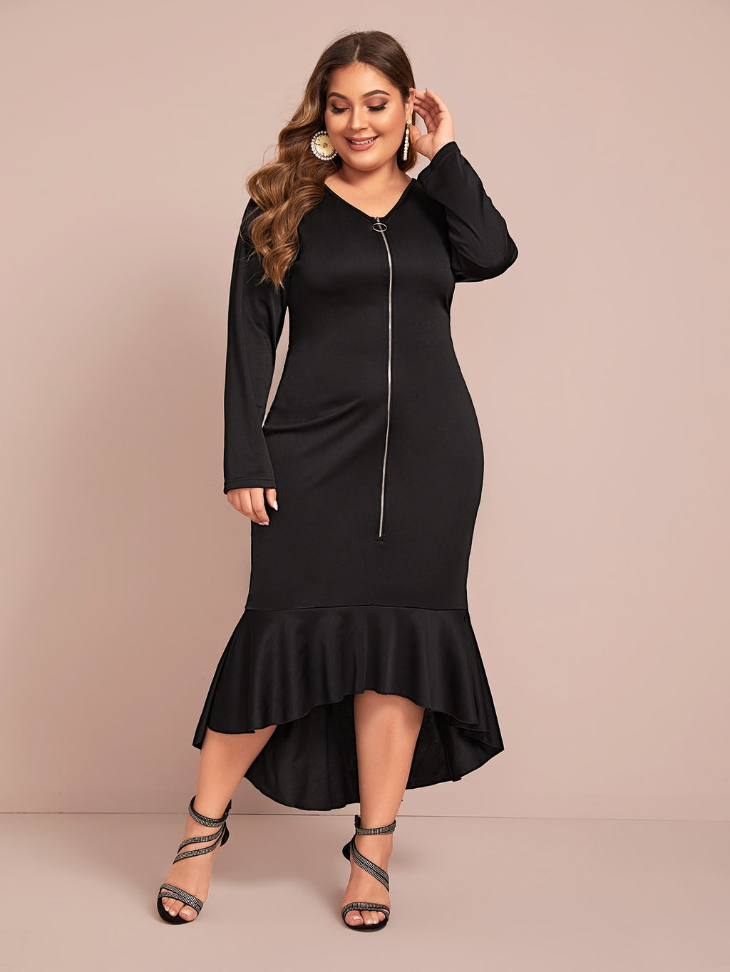 Plus Size Glam Zip Up Mermaid Cocktail Dress