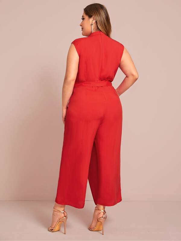 Plus Size Self Tie Wide Leg Jumpsuit