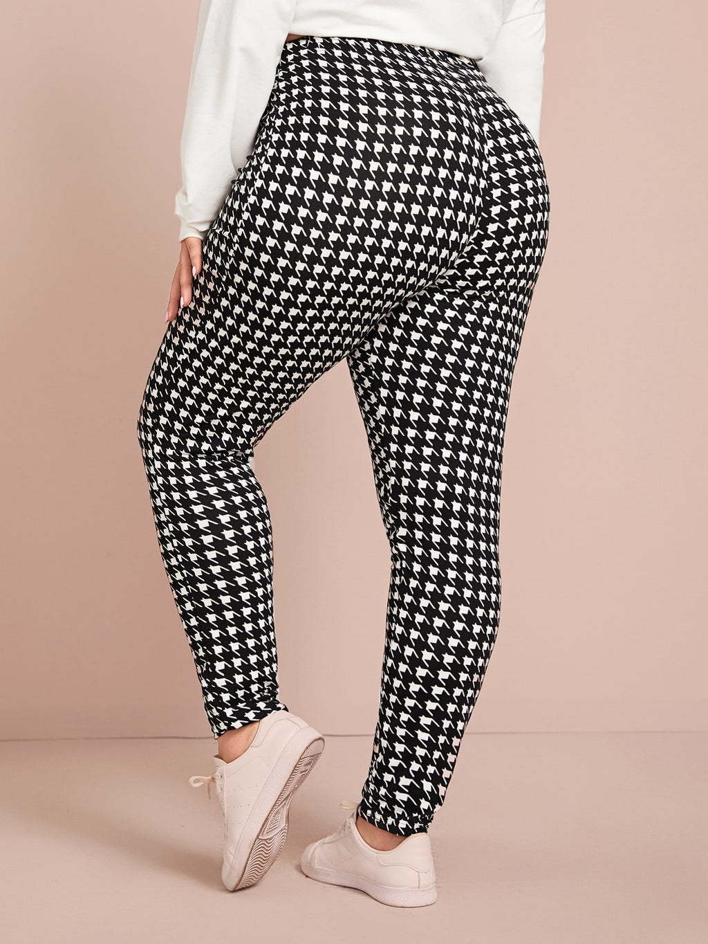 Plus Size Sexy Houndstooth Print Leggings