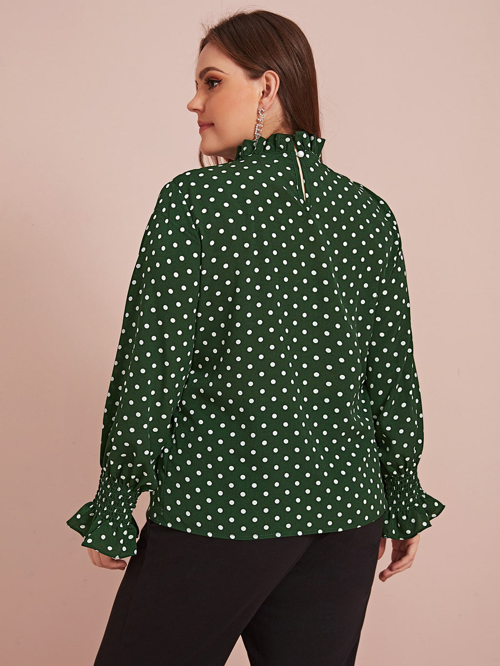Plus Size Holiday Polka Dot Frill Blouse Top