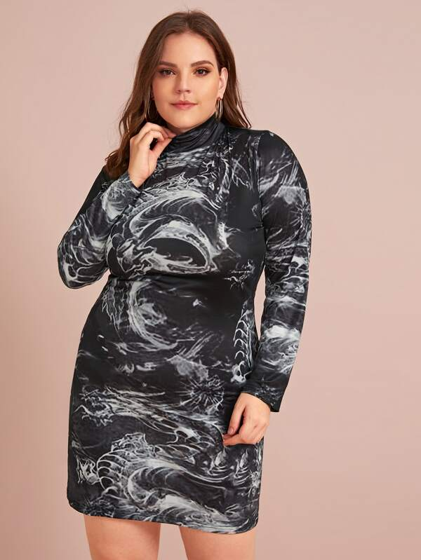 Plus Size High Neck Graphic Fitted Dress
