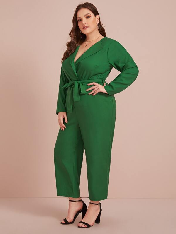 Plus Size Self Tie Zip Back Jumpsuit