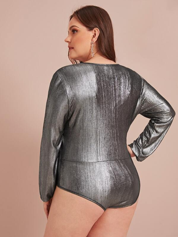 Plus Size Surplice Neck Metallic Bodysuit