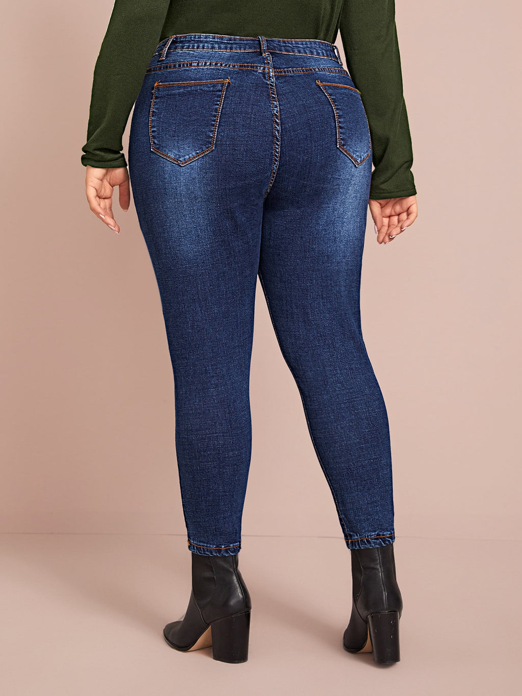 Plus Size Classic Denim Distressed Skinny Jeans