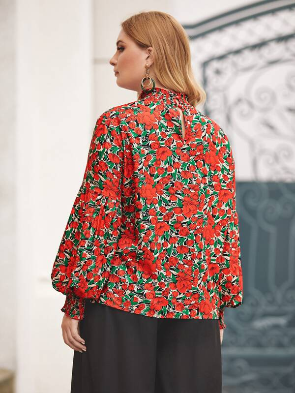 Plus Size Shirred Neck Lantern Sleeve Floral Blouse