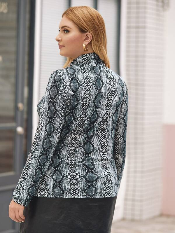 Plus Size Snakeskin Print Cut-Out Slim Top
