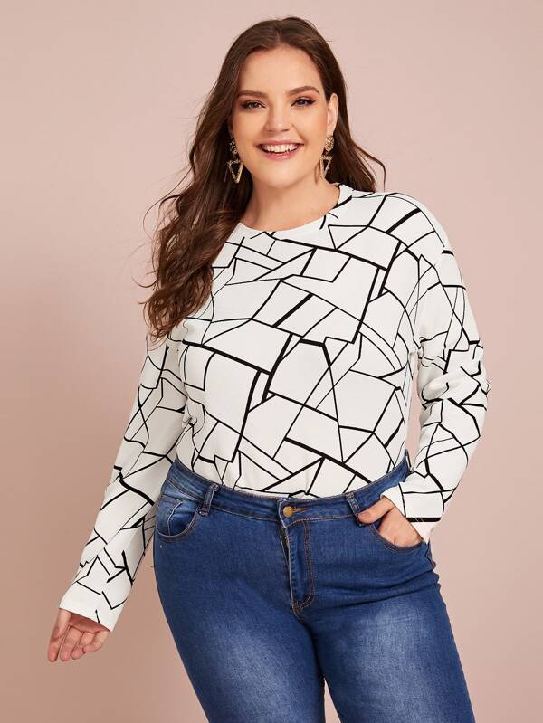 Plus Size Drop Shoulder Geo Print Tee