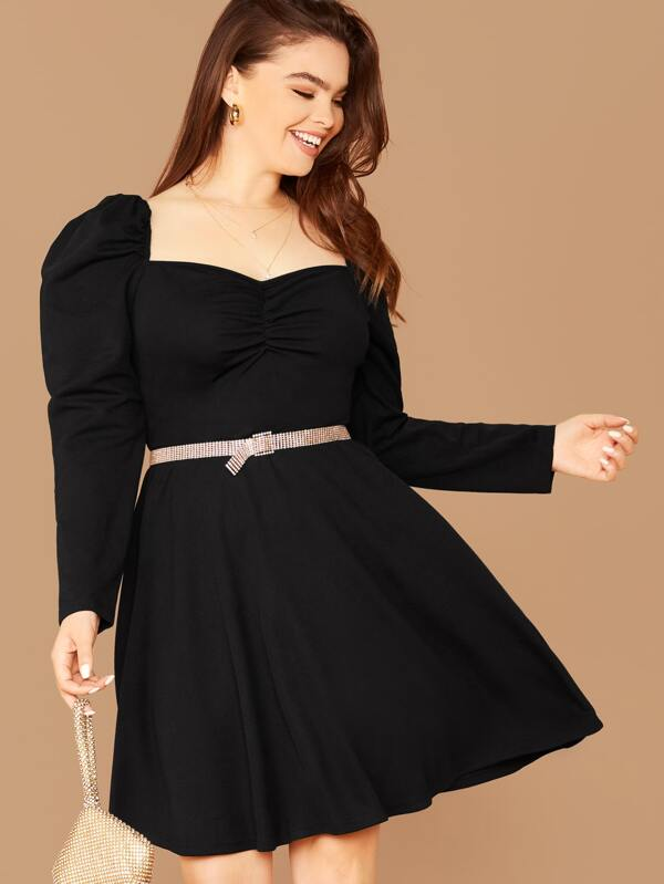 Plus Size Sweetheart Neck Gigot Sleeve Ruched Dress Without Belt