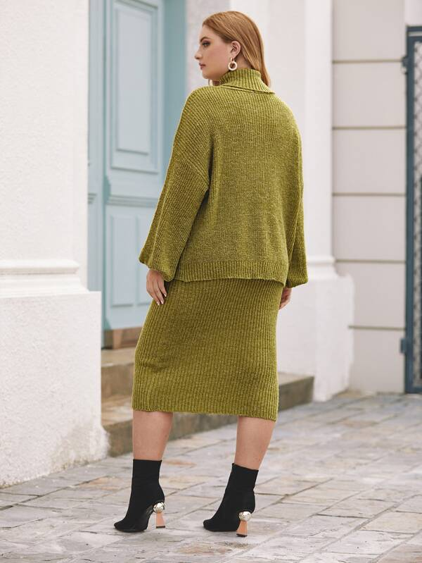 Plus Size Lantern Sleeve Turtleneck Sweater Top & Skirt Set