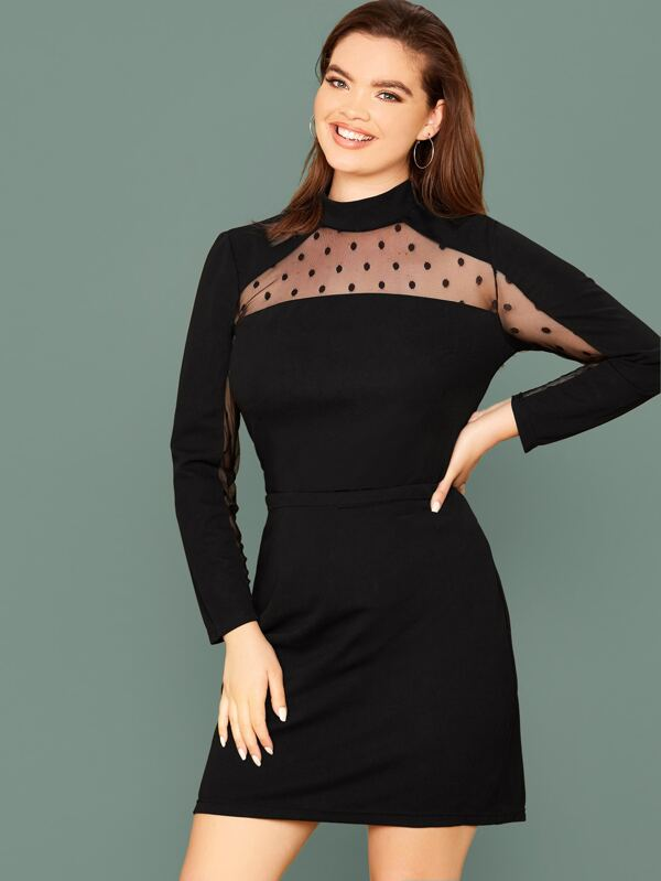 Plus Size Dot Mesh Insert Tee & Skirt Set