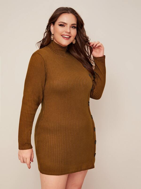 Plus Size Button Detail Ribbed Knit Sweater Dress