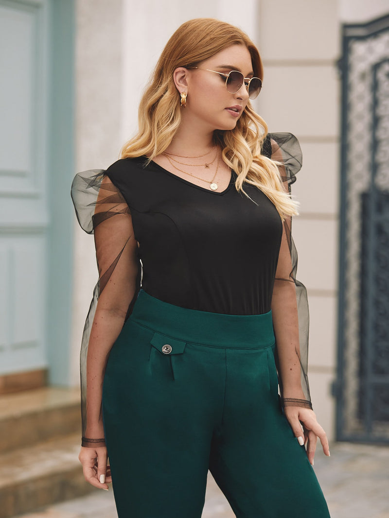 Plus Size Diva Mesh Puff Sleeve Top