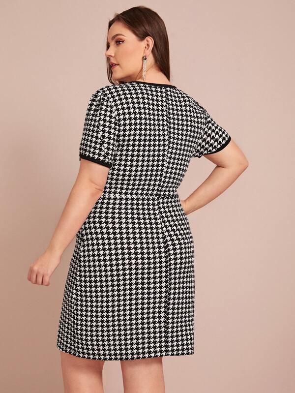 Plus Size Contrast Binding Houndstooth Fitted Dress