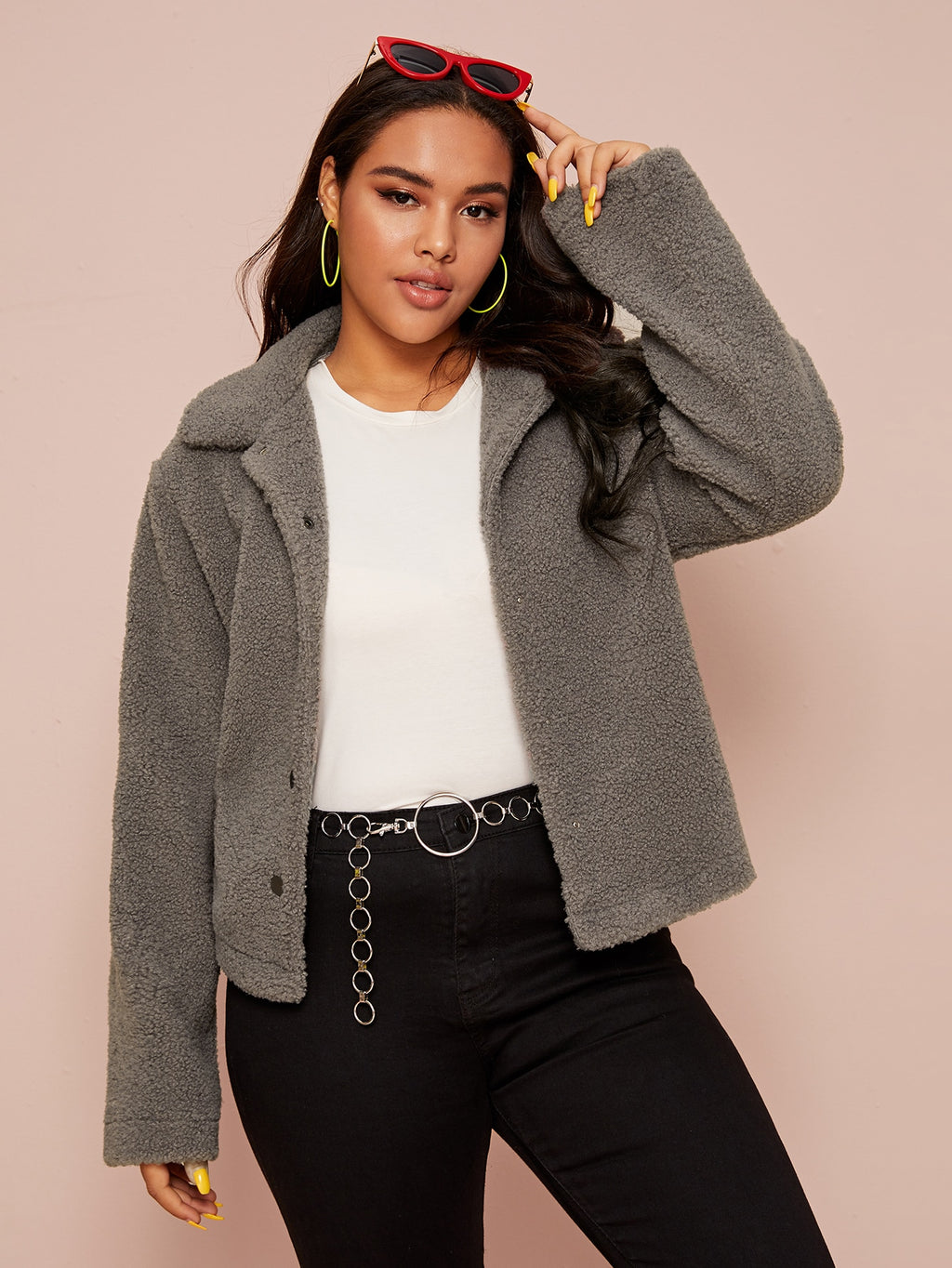 Plus Size Soft Single Breasted Teddy Jacket