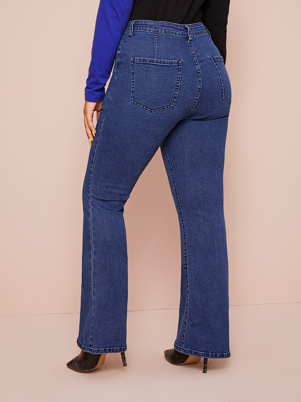 Plus Size Button Fly Flare Leg Jeans