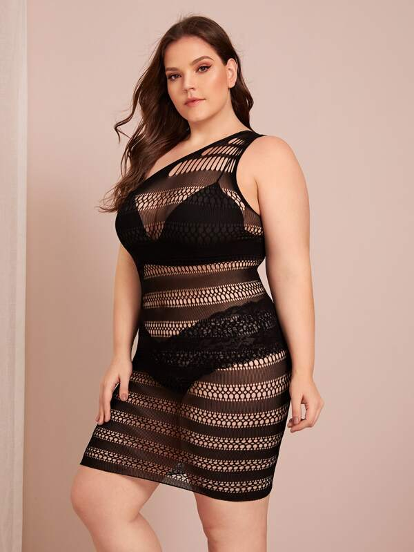 Plus Size Crochet One Shoulder Dress