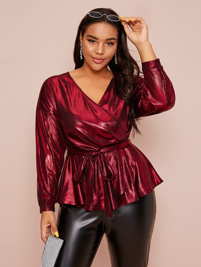 Plus Size Metallic Long Sleeve Belted Wrap Top
