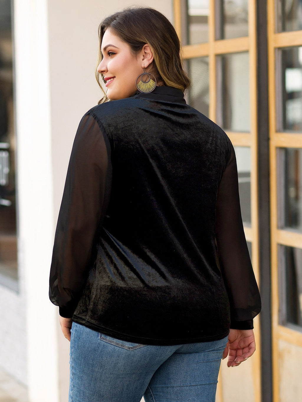 Plus Size Adorable Tie Neck Velvet Top