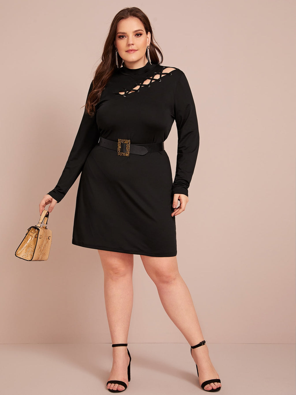 Plus Size Flirty Criss Cross Fitted Dress Without Belt