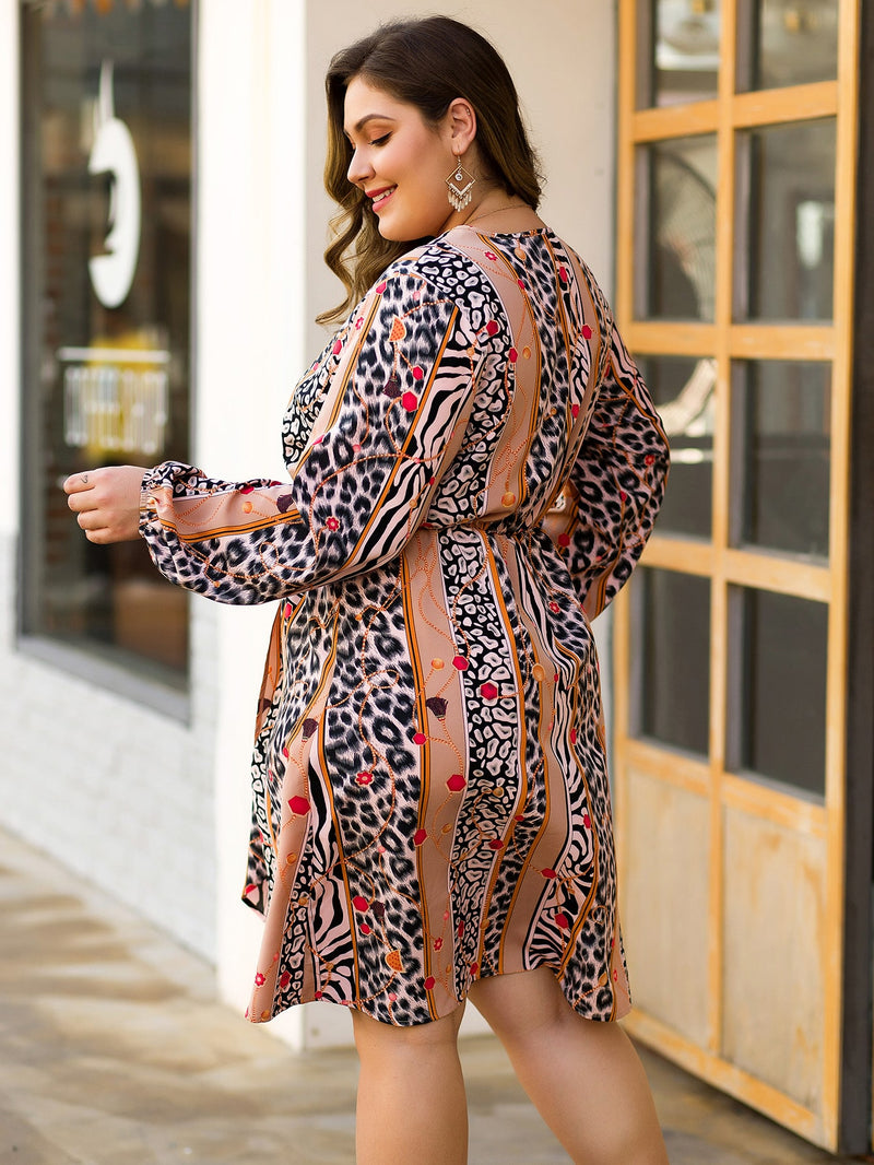 Plus Size Surplice Neck Graphic Wrap A-line Dress