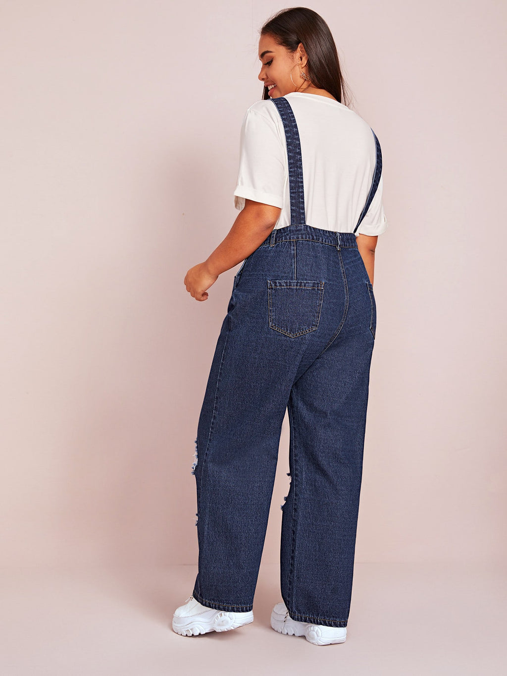 Plus Size Adorable Ripped Pocket Denim Overalls
