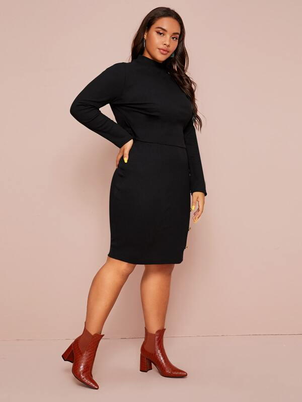 Plus Size Gold Button Fitted Top & Pencil Skirt Set