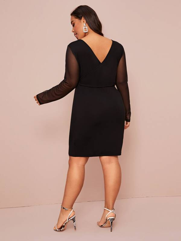 Plus Size Double V-Neck Sheer Sleeve Dress Without Belt