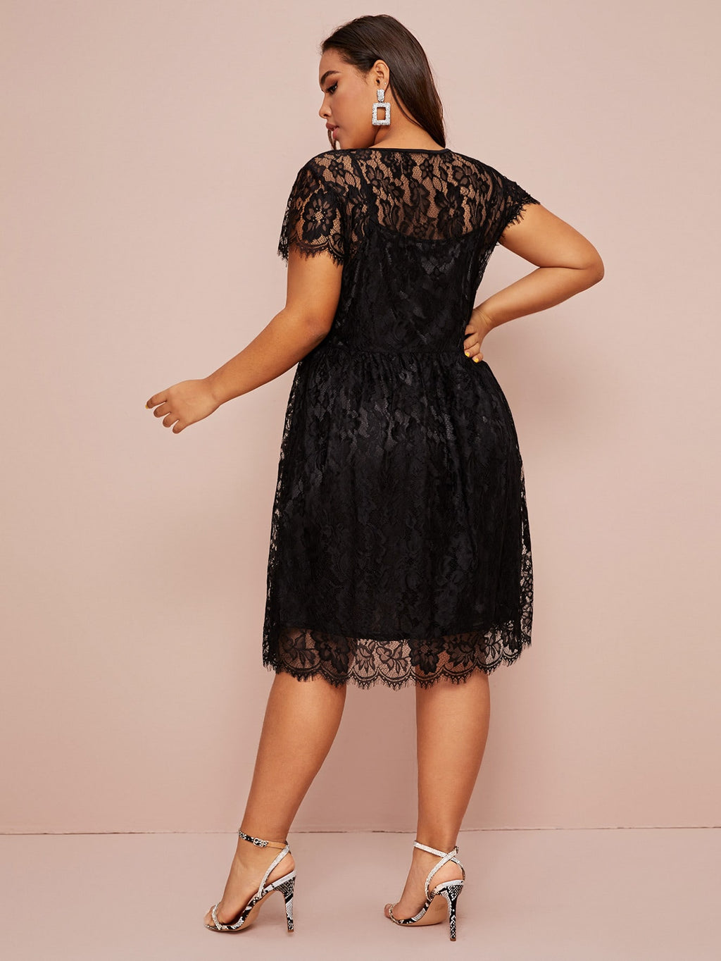 Plus Size Adorable Scallop Trim A-line Dress