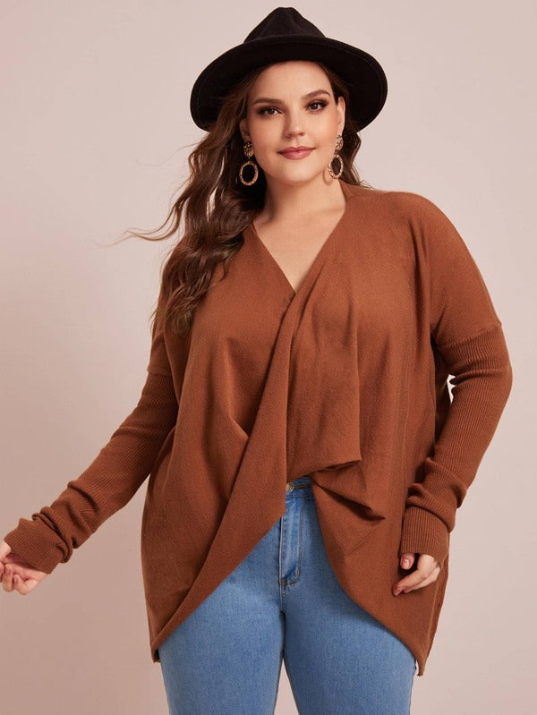 Plus Size Drop Shoulder Draped Front Rib-Knit Sleeve Sweater