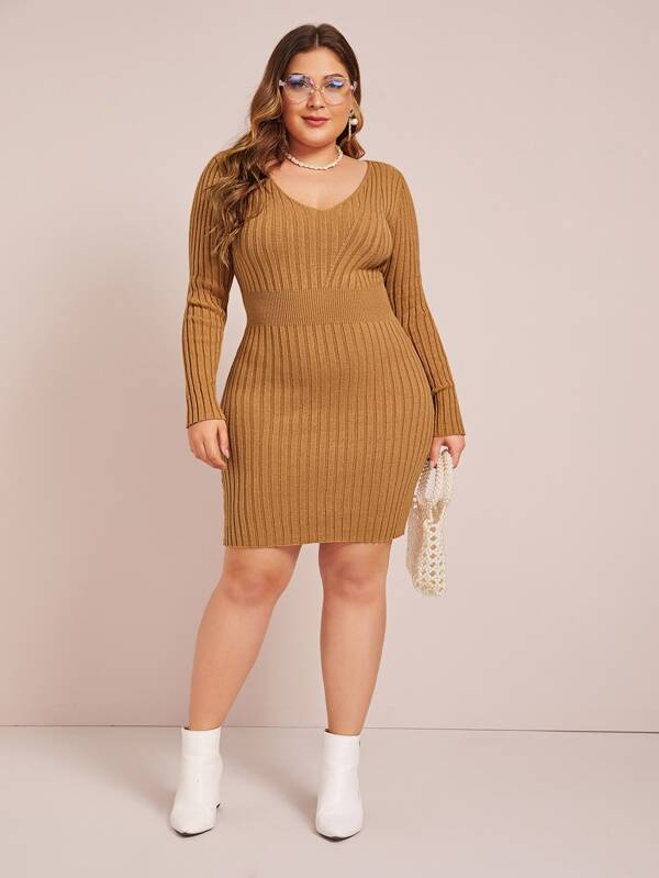 Plus Size V-Neck Ribbed Knit Bodycon Sweater Dress