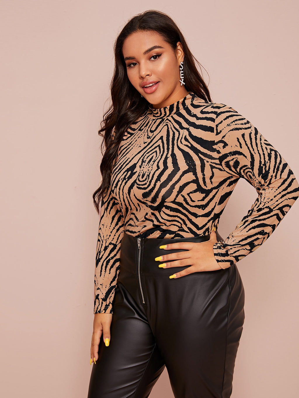 Plus Size Mock-neck Zebra Striped Fitted Top