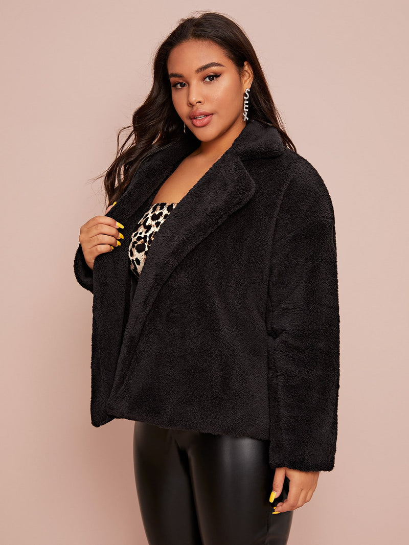 Plus Size Fluffy Lapel Collar Solid Teddy Jacket