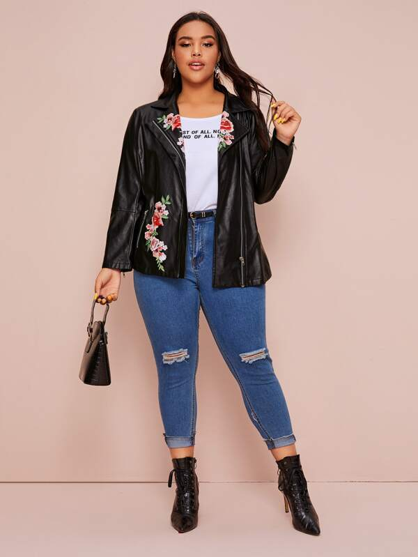 Plus Size Flower Embroidered PU Moto Jacket