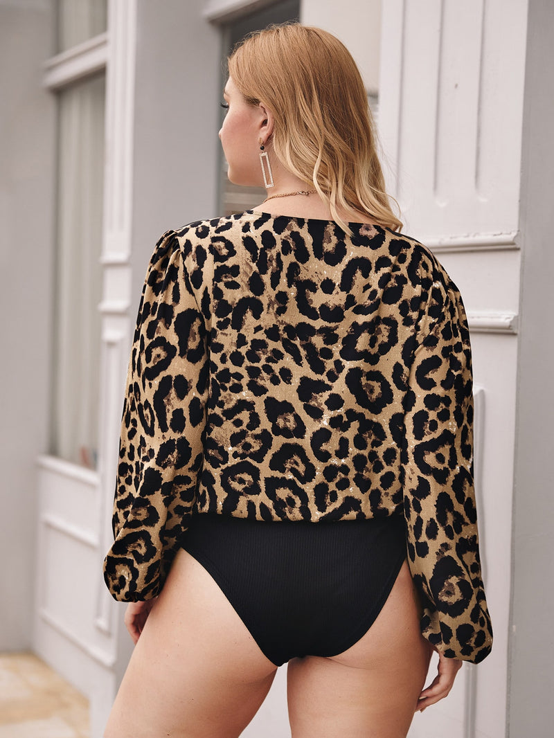 Plus Size Leopard Print Deep V-neck Bodysuit Top