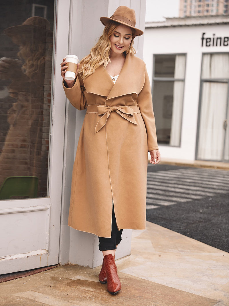 Plus Size Elegant Waterfall Collar Self Tie Tweed Coat