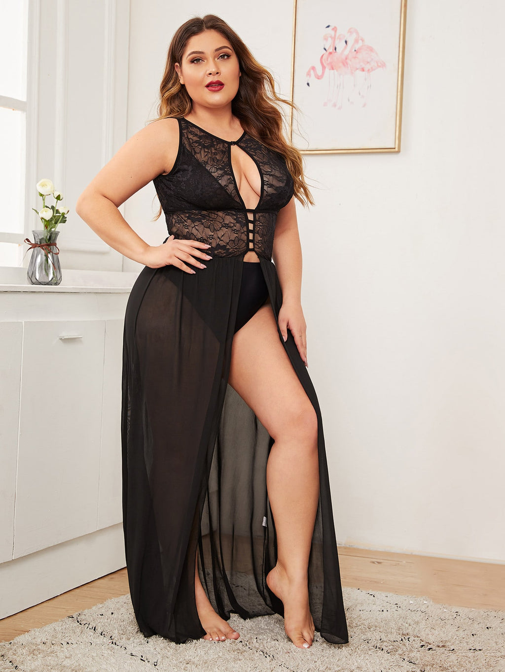 Plus Size Contrast Lace Mesh Dress & Thong