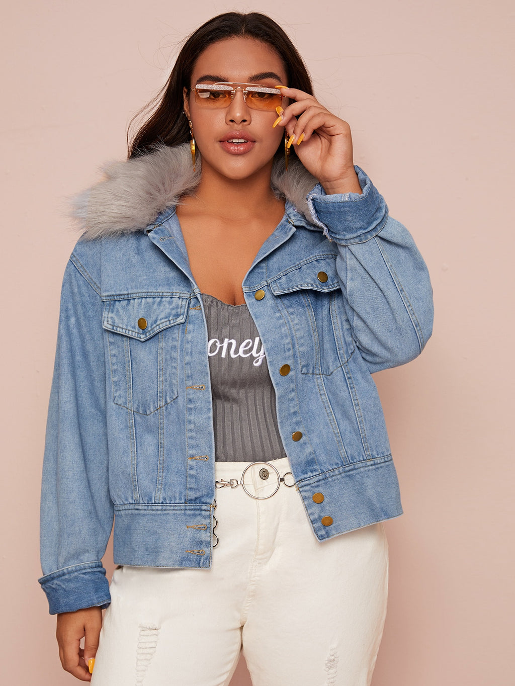 Plus Size Denim Jacket With Faux Fur Collar