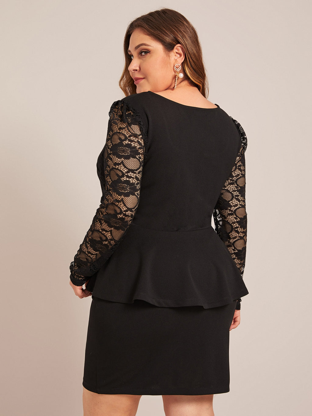 Plus Size Sleek Lace Sleeve Peplum Top & Skirt Set