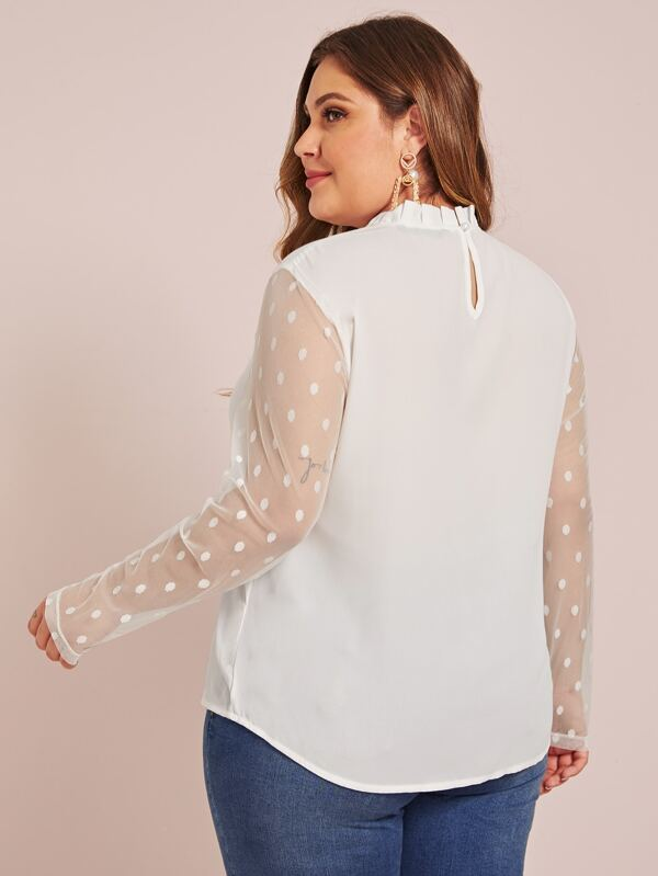 Plus Size Pleated Neck Dobby Mesh Sleeve Top
